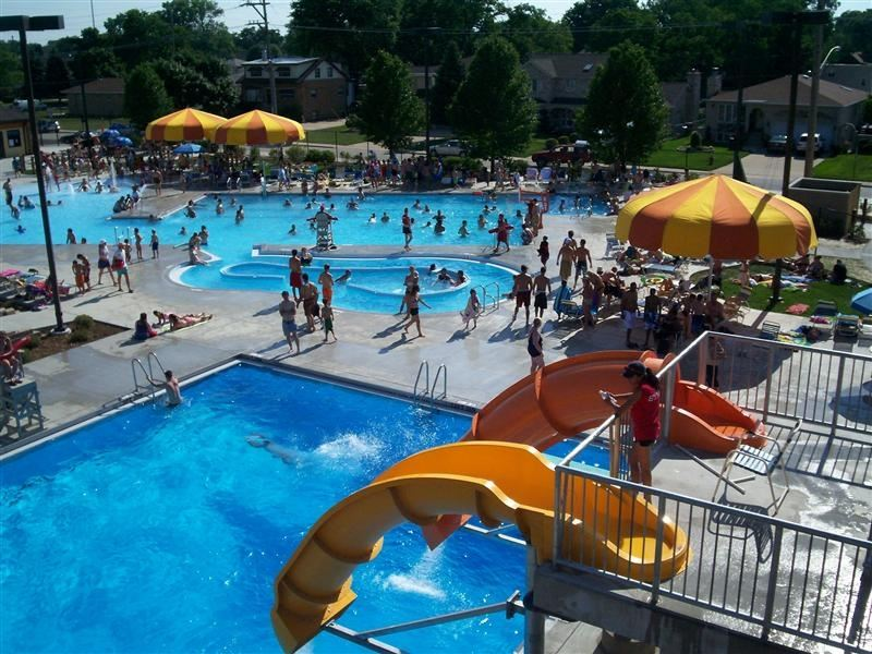 An overhead view of the water park.