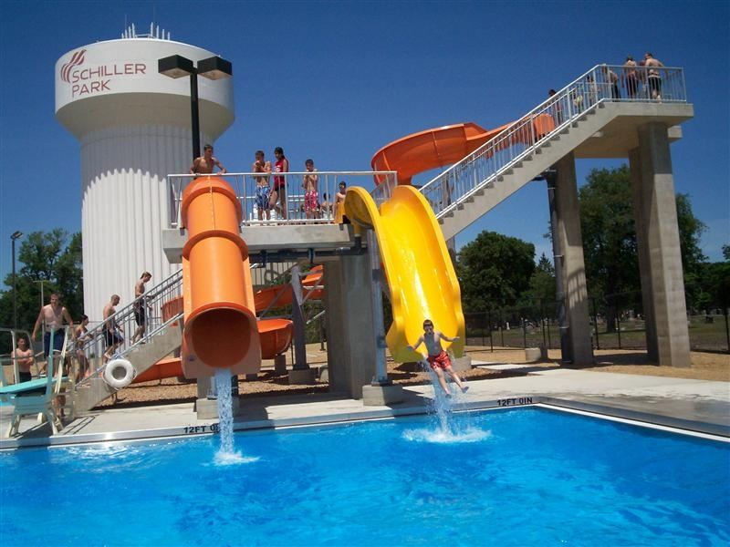 Two water slides side by side.